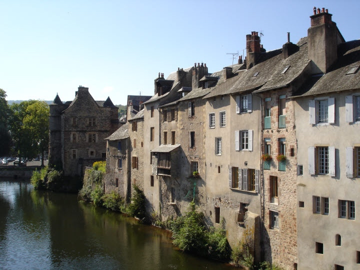 Medieval buildings by river