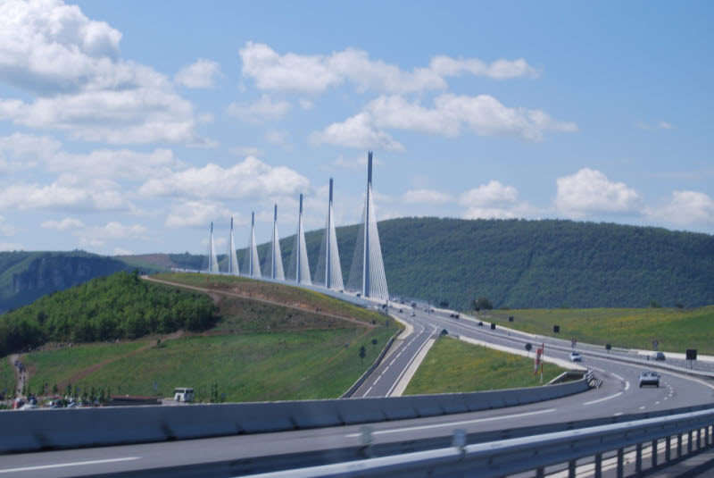 Millau bridge from car on autoroute