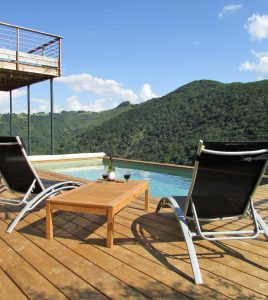 Pool with loungers and view